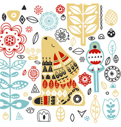 nordic ornaments folk art pattern scandinavian vector image