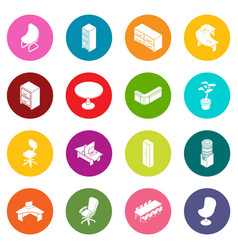 Office furniture icons set colorful circles vector