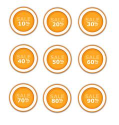orange circular paper labels on sale vector image