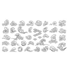 oriental wave set vector image