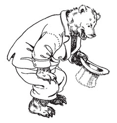Papa bear kneeling down vintage vector