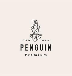 penguin geometric polygonal hipster vintage logo vector image