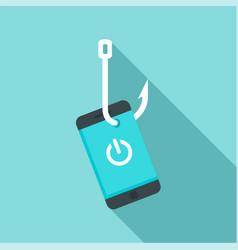 phishing smartphone icon flat style vector image