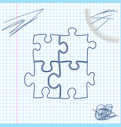 piece puzzle line sketch icon isolated on vector image