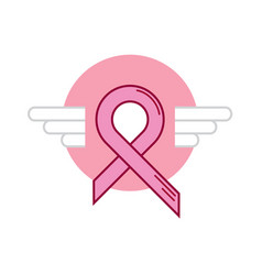 Pink ribbon breast cancer wing vector
