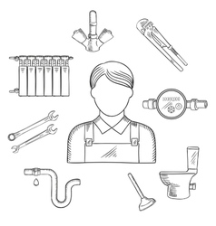 Plumber man and sanitary engineering vector