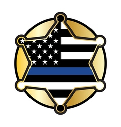 Police Support Star Badge Flag vector image