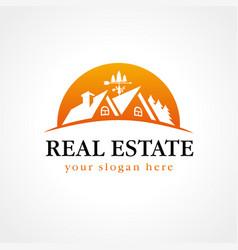 real estate logo wood sun vector image