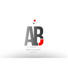 Red grey alphabet letter ab a b logo combination vector
