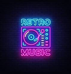 Retro music neon sign retro music design vector