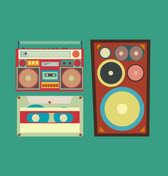 Retro style collection of musical related items vector