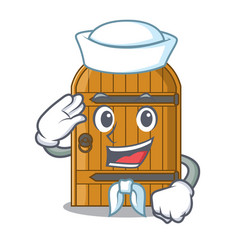 Sailor cartoon wooden door massive closed gate vector