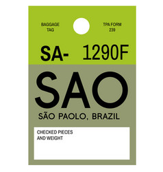 Sao paulo airport luggage tag vector