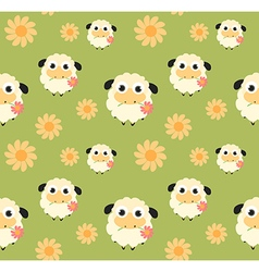 Seamless pattern with flat sheep vector image