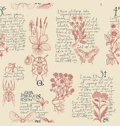 Seamless pattern with hand-drawn herbs and insects vector