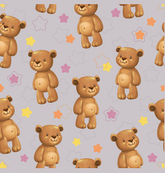 seamless pattern with little cute cartoon stuffed vector image
