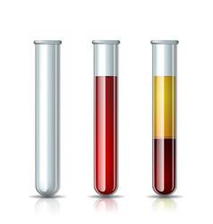 Set glassware tube empty filled blood vector