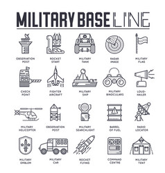 Set military base thin line icons pictograms vector
