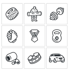 Set of Weightlifting Show Icons Wheel vector