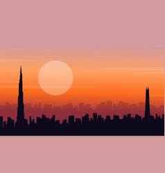 silhouette of dubai at sunset scenery vector image