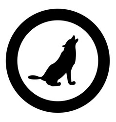 Silhouette of the wolf black icon in circle vector