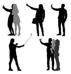 Silhouettes man and woman taking selfie with vector