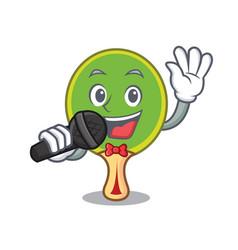 Singing ping pong racket mascot cartoon vector