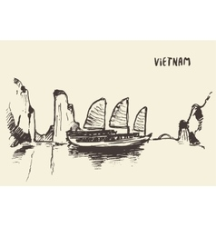 Sketch Halong Bay Vietnam vector