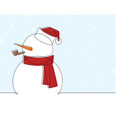 snow man with santa hat continuous line car vector image