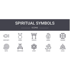 Spiritual symbols concept line icons set contains vector