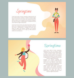 Springtime posters with text sample smile females vector