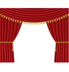 Stage curtains on white background vector