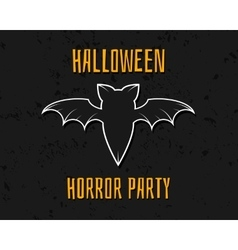 Stylish unique bat Happy Halloween night card vector