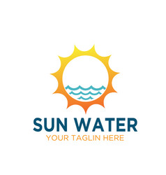 sun water sources electric logo designs vector image