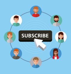 Suscribe people connection internet technology vector