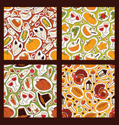 thanksgiving food seamless pattern traditional vector image