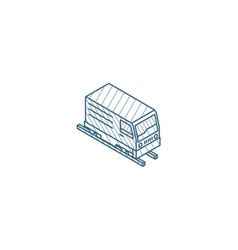 train head railway isometric icon 3d line art vector image