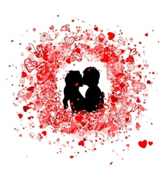 Valentine frame design with couple silhouette vector image