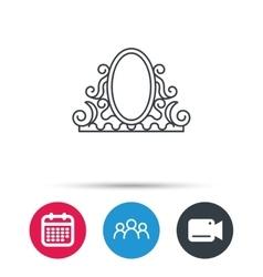 Vintage mirror icon Retro decoration sign vector