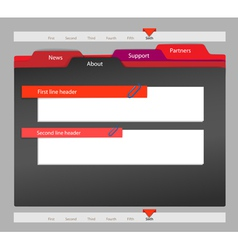 Web site template on black vector image