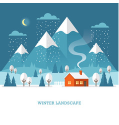 Winter landscape at night vector