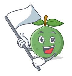 With flag guava mascot cartoon style vector