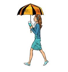 woman with smartphone and umbrella vector image