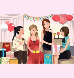 Women in a baby shower party vector