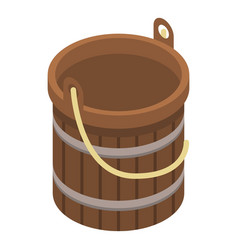 wood bucket icon isometric style vector image