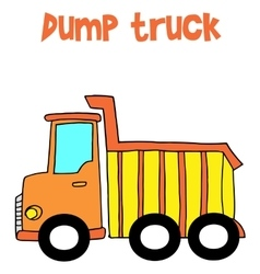 Yellow dump truck cartoon vector