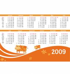 2009 calendar with cow vector image vector image