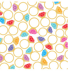 background pattern with golden rings and diamnonds vector image