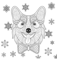 Corgi with bow tie in zentangle doodle style vector