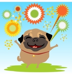 Happy dog with fireworks on the nature vector image vector image